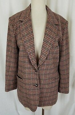 Vintage Brooks Brothers 100% Wool Houndstooth Checked Blazer Jacket Womens 10