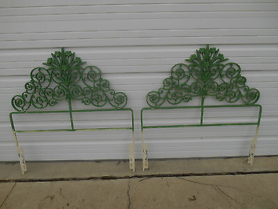 Pair of Hand Forged Ornamental Wrought Iron Floral Scroll Single Bed Headboards