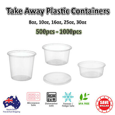 1000 ~ 500pc Round Take Away Containers Lids Plastic Disposable Food 225ml 750ml
