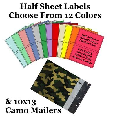 10x13 Camo  Poly Mailers + Colored Half Sheet Self Adhesive Shipping Labels