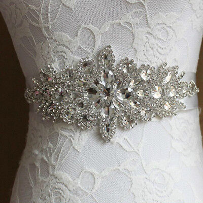 Vintage Rhinestone Pearl Bridal Jeweled Waist Belt Retro Wedding