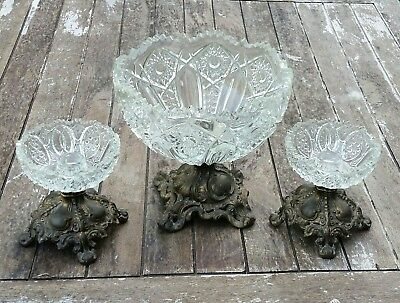 Vintage LE Smith Moon and Star Console Bowl Candle Holders Set Brass Base