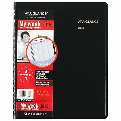 AT-A-GLANCE Weekly / Monthly Appointment Book 2016, Triple-View, 8-1/4 x 10-7/8