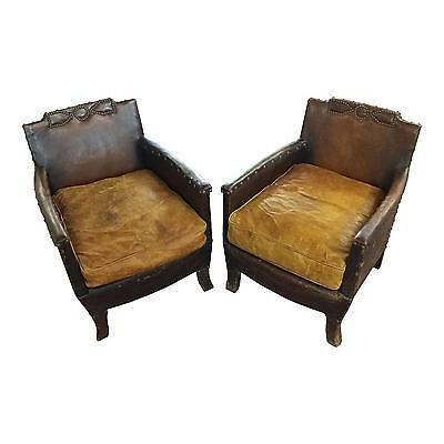 Pair of Small French Vintage Club Chairs c.1930s