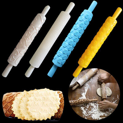 Pattern Carved Plastic Rolling Pin Embossing Kitchen Cookies Noodle Biscuit