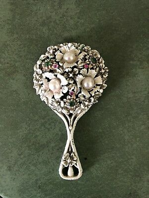 Antique Ornate Metal Hand Mirror - Faux Pearls - Pink/Red And Green Gem Stones -