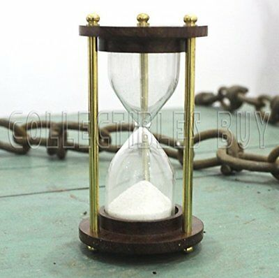Small sand clock timer hour glass brass antique vintage collection