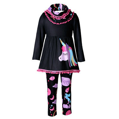 Unicorn Kids Baby Girls Outfits Clothes T-shirt Tops Dress +Long Pants 2PCS Set