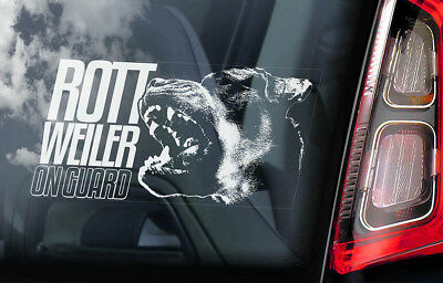 Rottweiler on Board - Car Window Sticker - Rottie Beware of Dog Sign Decal - V02