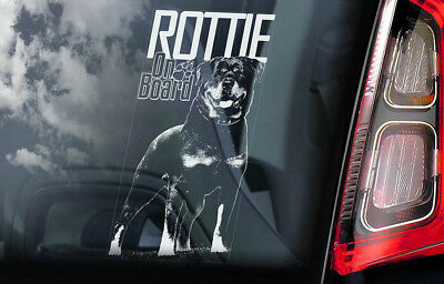 Rottweiler on Board - Car Window Sticker - Rottie Beware of Dog Sign Decal - V03