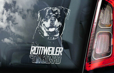 Rottweiler on Board - Car Window Sticker - Rottie Beware of Dog Sign Decal - V04