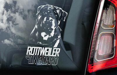 Rottweiler on Board - Car Window Sticker - Rottie Beware of Dog Sign Decal - V05