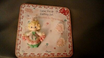 1995 Precious Moments Enesco Lapel Pin Earring Set You have touch many hearts