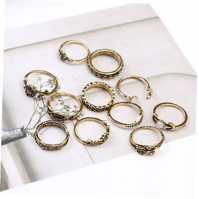 Retro Antique Gold Antique Silver Vintage Ring Set Finger Rings Retro Carved GT