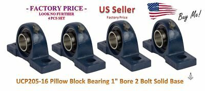 """ID#8 Factory Price- UCP205-16 Pillow Block Bearing 1"""" Bore 2 Bolt Solid Base (4)"""