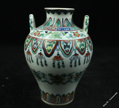 """5.6"""" Collect Chinese Old Wucai Pottery Porcelain 8 treasures Vase Pot Jar Tank"""