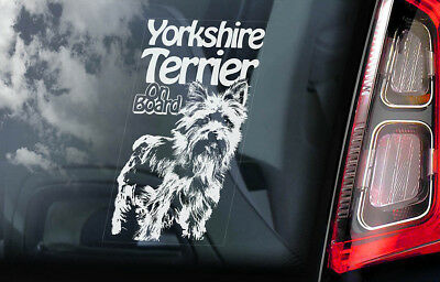 Yorkshire Terrier on Board - Car Window Sticker - Yorkie Sign Decal Gift - V02