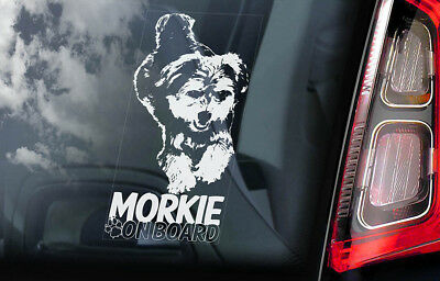 Morkie on Board - Car Window Sticker - Yorkie Yorkshire Terrier Sign Decal - V01