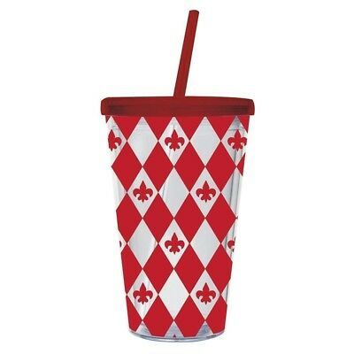 Fleur De Lis 500ml Insulated Cup with Straw. Peachy Kitchen. Free Delivery