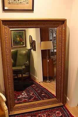 "Very Large 61"" Antique Gold/Bronze Ornate Plaster Regal Wall or Floor Mirror"