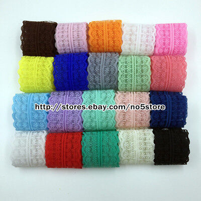 12 Yards Bilateral Handicrafts Embroidered Net Lace Trim Ribbon Wholesale A01