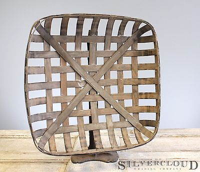 "Tobacco Basket, Rustic Farmhouse Decor, Med 21"" Square Great Display for Wreaths"