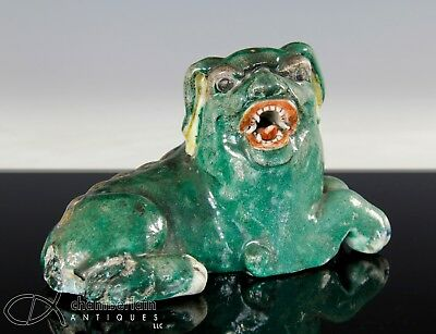 Unusual Antique Chinese Porcelain Statue Of Seated Dog