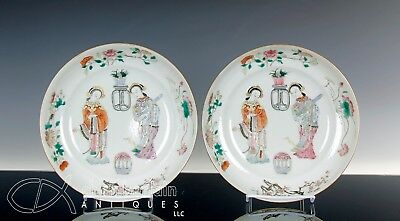 Nice Pair Antique Chinese Famille Rose Porcelain Dishes Bowls W Figures