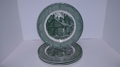 Vintage The Old Curiosity Shop Green Royal China Dinner Plates Set of 4