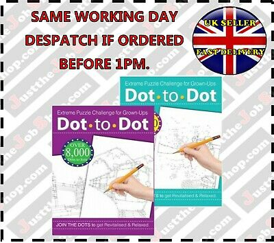Dot to Dot Puzzle Books for adults (x2)Bird Animal Extreme Puzzle Challenge