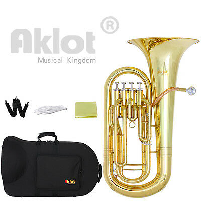 Aklot Bb 4 Valve Euphonium Brass Body Stainless Steel Piston Gold Lacquered