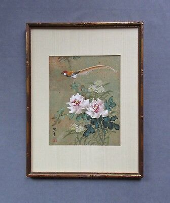 "Fabulous Asian Watercolor/Gouache Painting ""Bird of Paradise with Pink Roses"""
