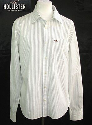 Hollister Long Sleeve Shirt White Cotton Green Size L 44/46 Excellent Condition