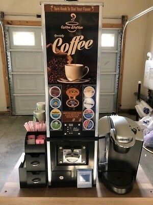 K-cup vending machine with coffee station organizer, Keurig 2.0K425S Plus brewer