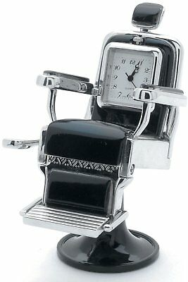Barber Shop Chair Silver Miniature Desk Clock Sanis New In Box