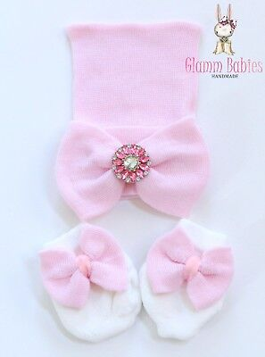 Newborn Baby Infant Girl Toddler Comfy pink Cap Beanie Hat Big bow & mittens