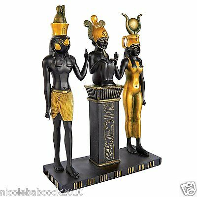 ANCIENT EGYPTIAN DYNASTY FAMILY STATUE REPLICA  etched hieroglyph BRAVERY