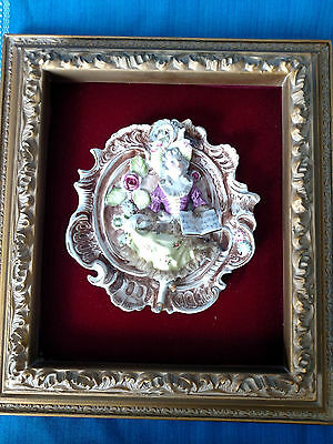 Antique ShadowBox Framed Victorian Lady 3 Dimensional Porcelain Wall Art Plaque