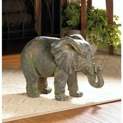 Gorgeous Weathered Iron Elephant Statue Indoor / Outdoor New
