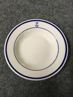 "Homer Laughlin 7"" US Navy Mess Blue Anchor-Shallow Soup Salad Plate"