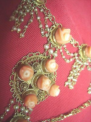 Antique Victorian Old Arts & Crafts 14Ct Gold Renaissance Coral Pearl Necklace!