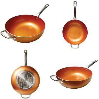 Copper Frying Pan Scratch Proof Titanium Steel 12-Inch Non Stick Ceramic Infused
