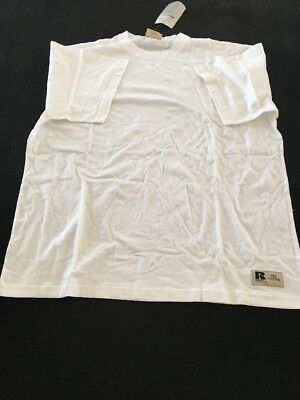RUSSELL ATHLETIC Vtg Pro Cotton blank tee t-shirt size 2XL White New Old Stock