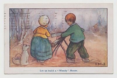 "POSTCARD - IMJ Ivy Millicent James ""Let us build a Wendy house"" children dog"