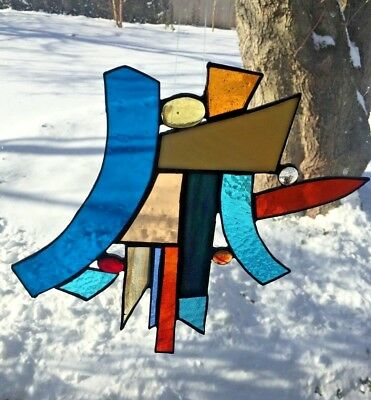 Vintage Hand Made Stained Glass Sun Catcher Multi Color Abstract Good Luck