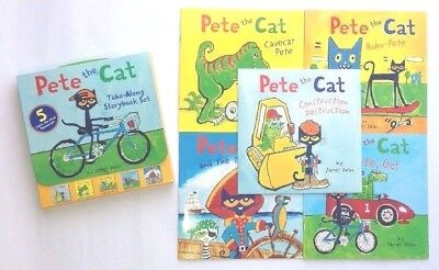 Pete the Cat Lot 5 Childrens Books Box Set Carrying Case Paperback NEW