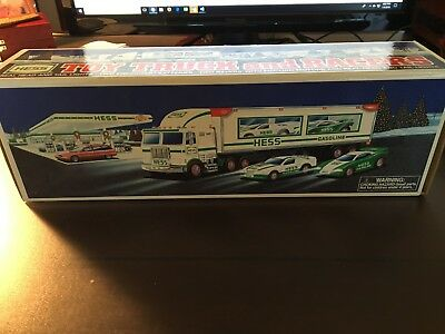1997 HESS Toy Truck with 2 Racing Cars - New In Box/MINT!!!