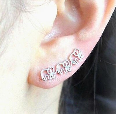 Elephant Ear Crawler Earrings Silver Climber Jewelry Three Elephants Fashion New