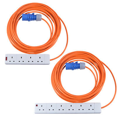 16A Plug 4 Way 6 Way Caravan Hook Up Cable Site Orange Extension Lead All Length
