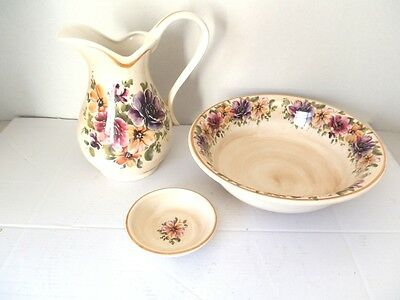 Set TOILET bowl pitcher saucer ceramics MADE IN FLORENCE DECORATION ROSA